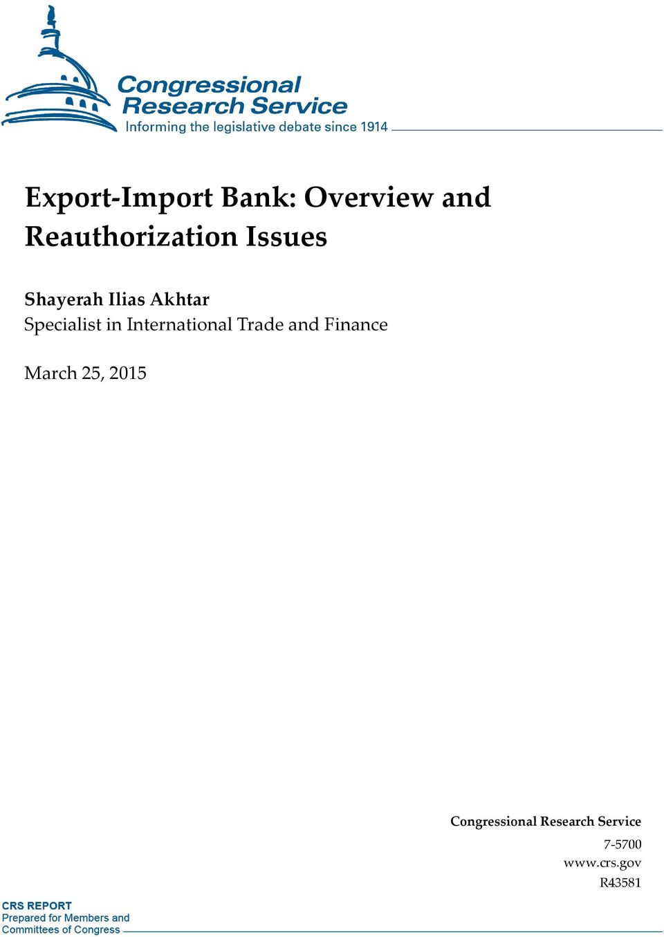 International Trade and Finance March 25, 2015
