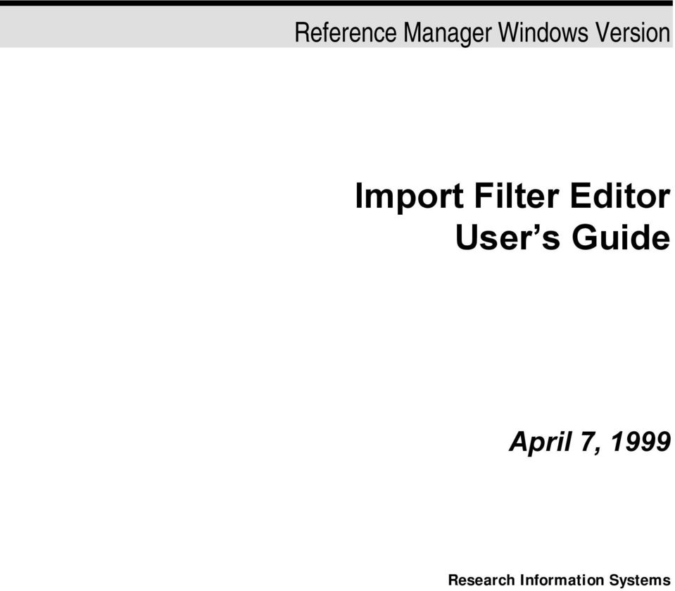 Editor User s Guide April