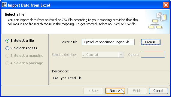 Figure 57 -- Importing Instance Specifications of Schema Class by Using the Wizard 2. Click Import Data from Excel > OK. The Import Data from Excel wizard will open (Figure 58).