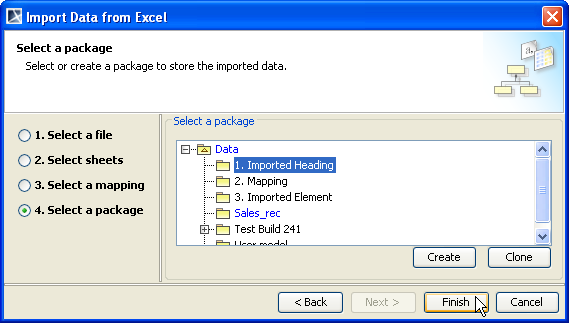 Figure 61 -- The Select a Package Option Page 7. Select a package that will contain the instance specifications to import from the treeview (Figure 61). 8. Click Finish.