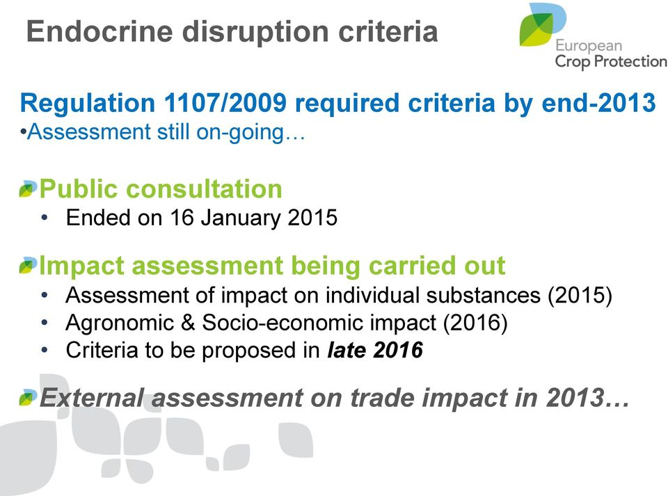 being carried out Assessment of impact on individual substances (2015) Agronomic &