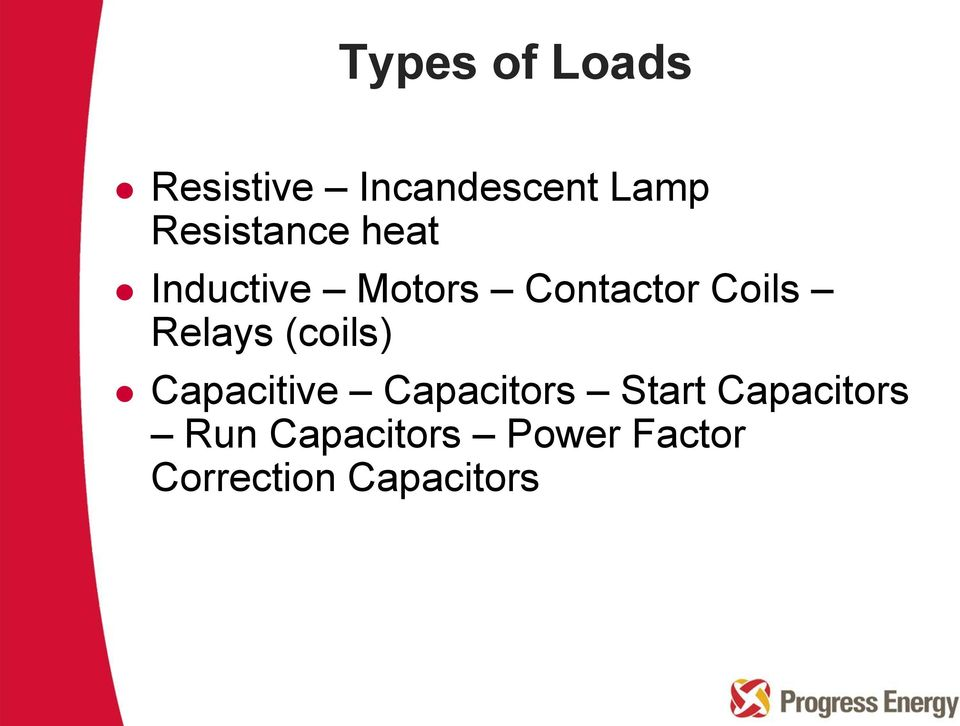 Relays (coils) Capacitive Capacitors Start