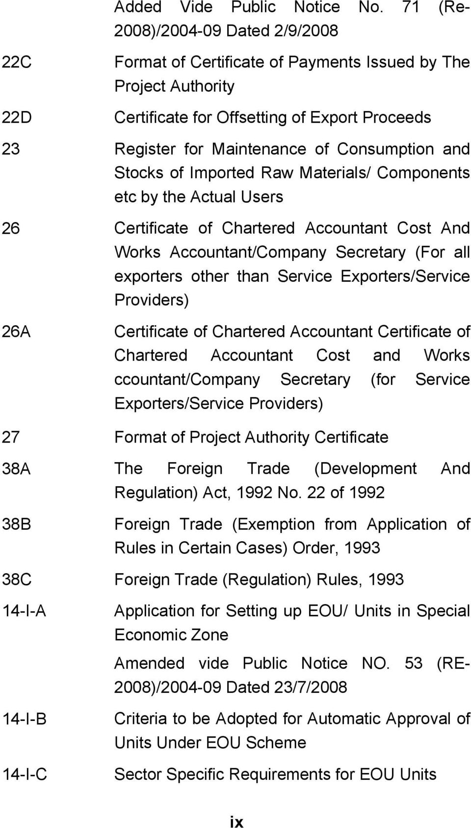 and Stocks of Imported Raw Materials/ Components etc by the Actual Users 26 Certificate of Chartered Accountant Cost And Works Accountant/Company Secretary (For all exporters other than Service