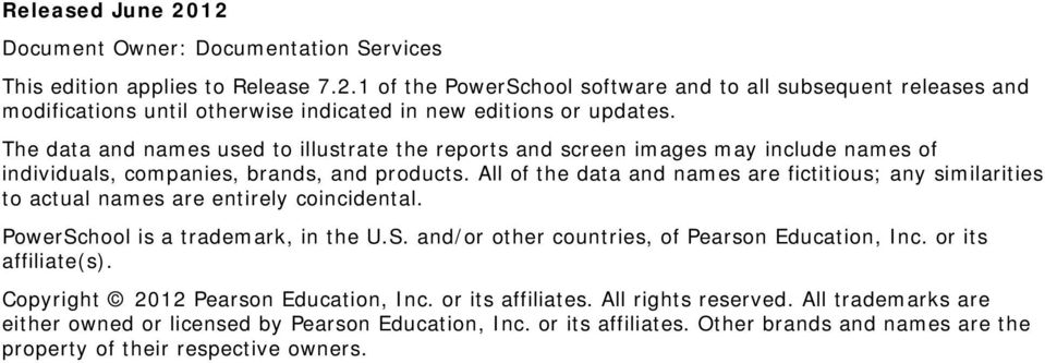 All of the data and names are fictitious; any similarities to actual names are entirely coincidental. PowerSchool is a trademark, in the U.S. and/or other countries, of Pearson Education, Inc.