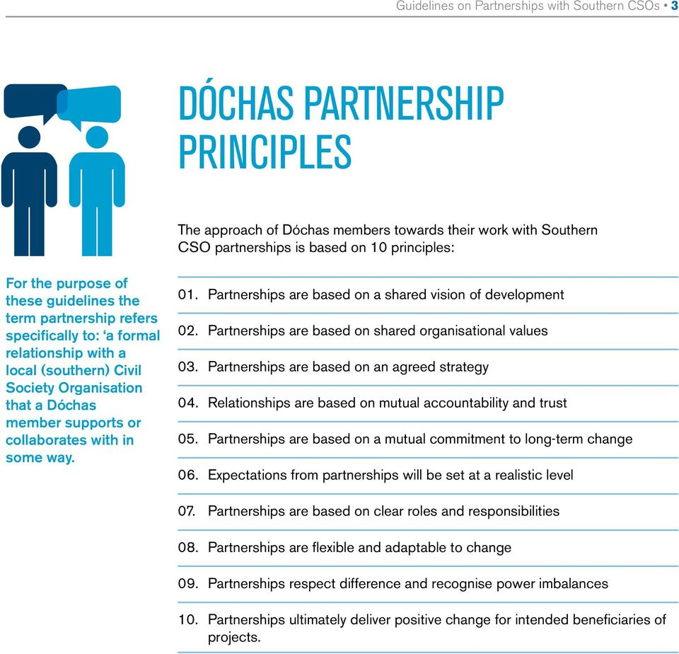 some way. 01. Partnerships are based on a shared vision of development 02. Partnerships are based on shared organisational values 03. Partnerships are based on an agreed strategy 04.