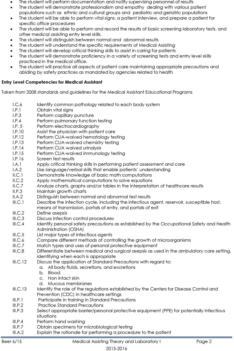 medical assisting program supplement pdf able to perform and record the results of basic screening laboratory tests and other medical