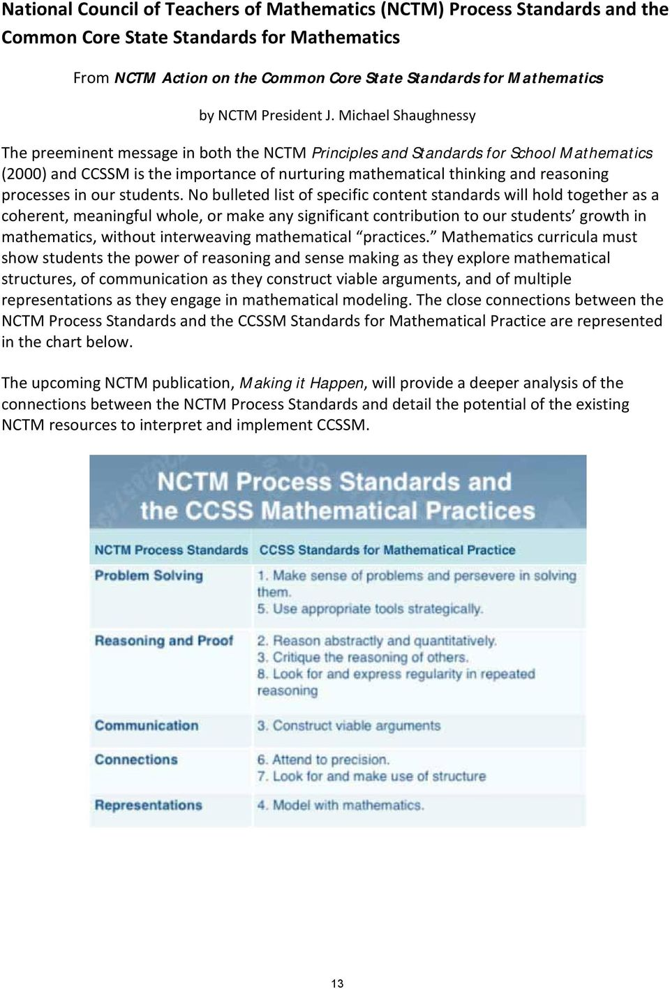 Michael Shaughnessy The preeminent message in both the NCTM Principles and Standards for School Mathematics (2000) and CCSSM is the importance of nurturing mathematical thinking and reasoning