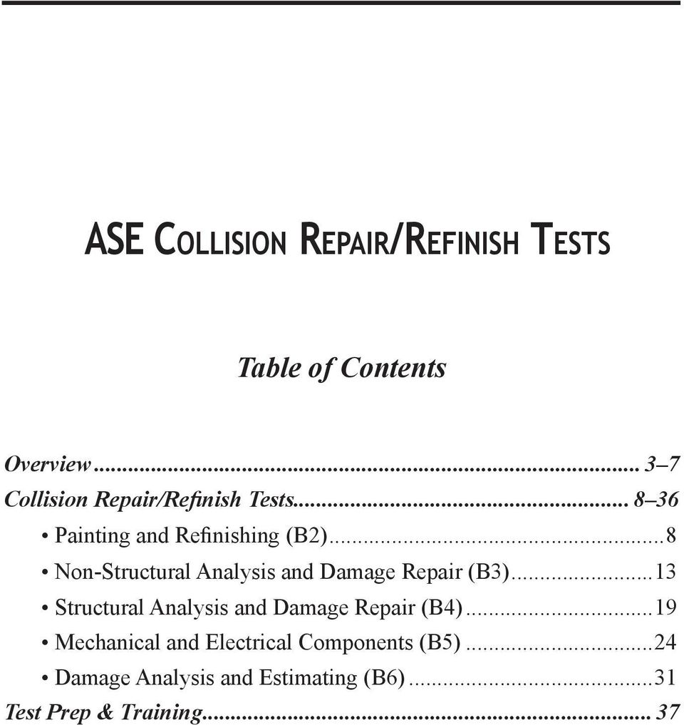 Ase collision repair and refinish tests pdf 8 non structural analysis and damage repair b3 xflitez Choice Image
