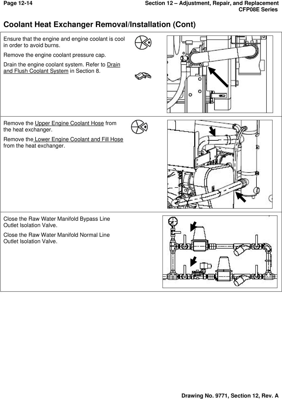 Refer to Drain and Flush Coolant System in Section 8. Remove the Upper Engine Coolant Hose from the heat exchanger.