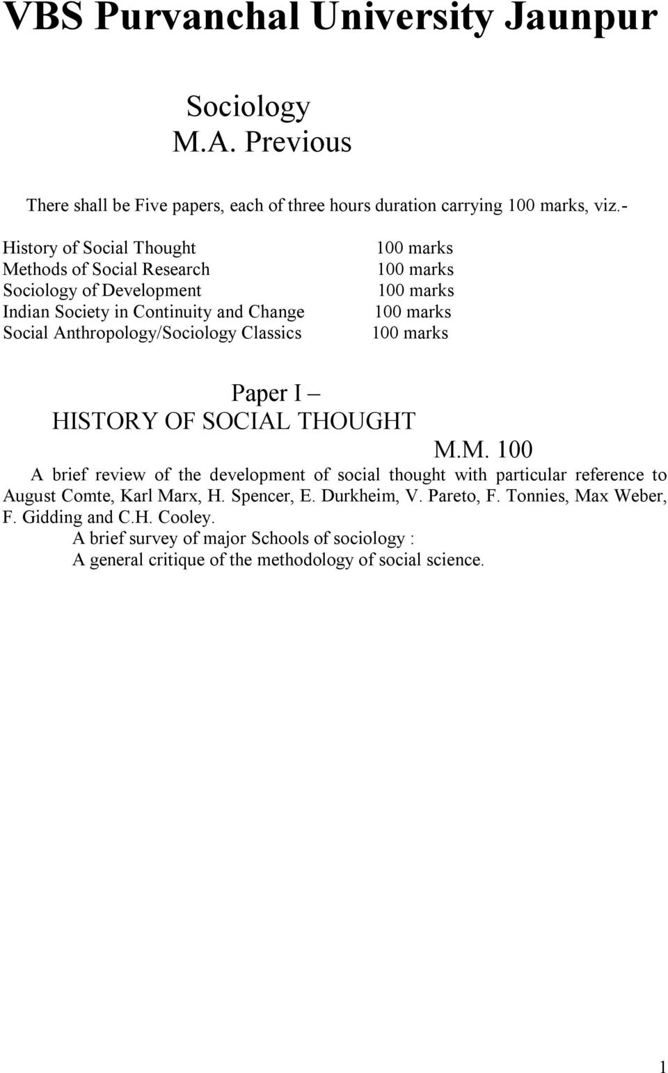 Anthropology/Sociology Classics Paper I HISTORY OF SOCIAL THOUGHT M.