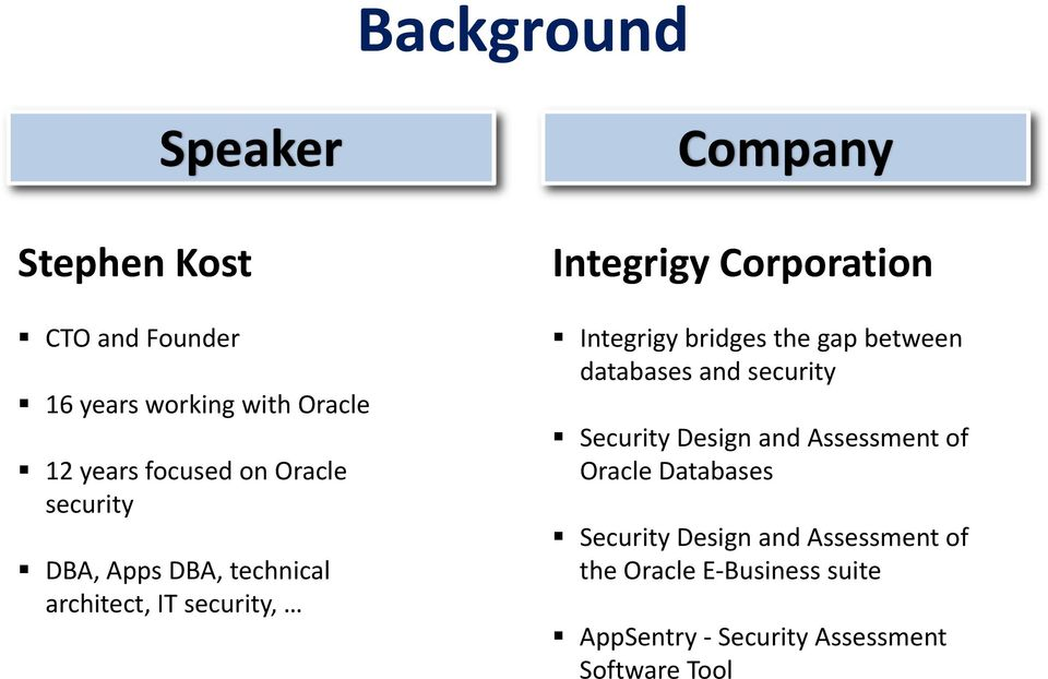 Integrigy bridges the gap between databases and security Security Design and Assessment of Oracle