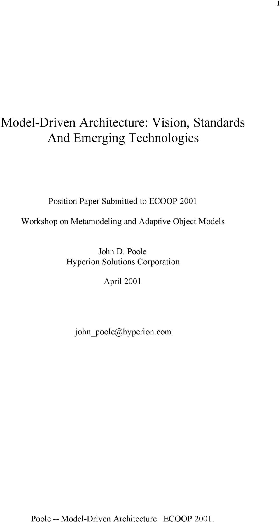 on Metamodeling and Adaptive Object Models John D.
