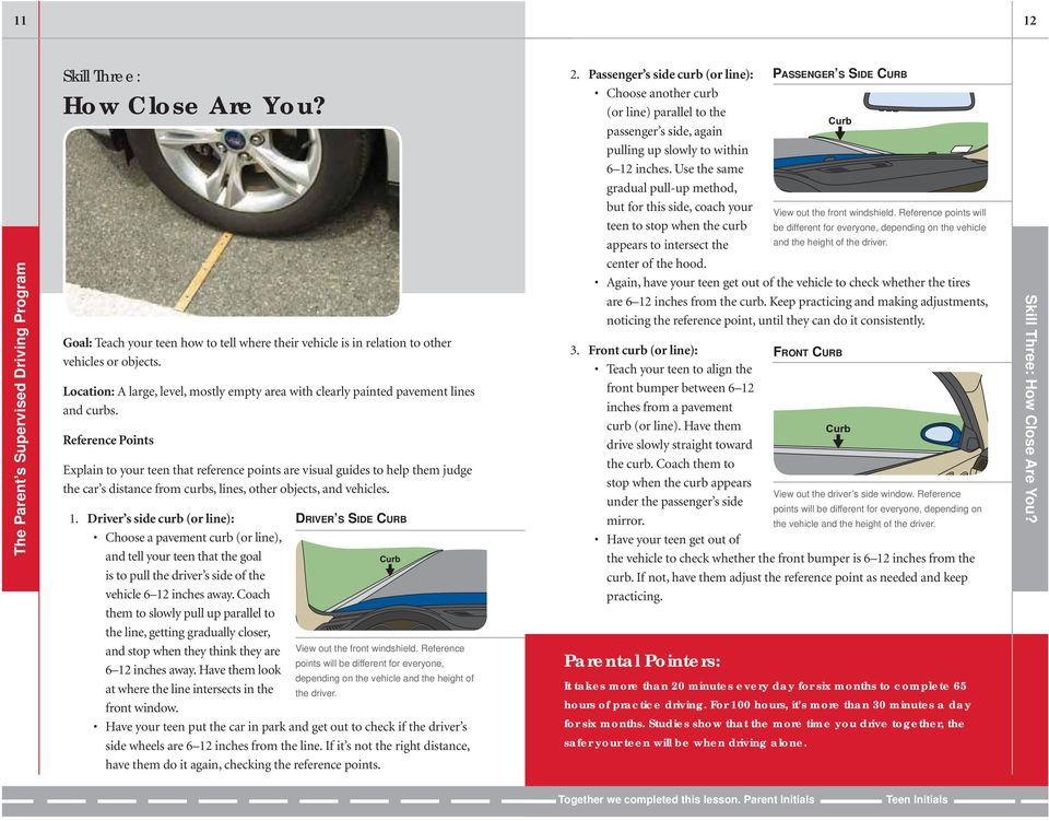 Reference Points Explain to your teen that reference points are visual guides to help them judge the car s distance from curbs, lines, other objects, and vehicles. 1.