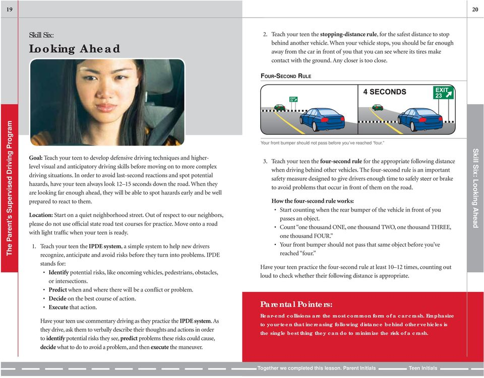 FOUR-SECOND RULE Goal: Teach your teen to develop defensive driving techniques and higherlevel visual and anticipatory driving skills before moving on to more complex driving situations.