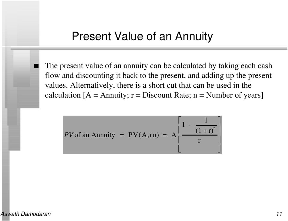 Alternatively, there is a short cut that can be used in the calculation [A = Annuity; r =