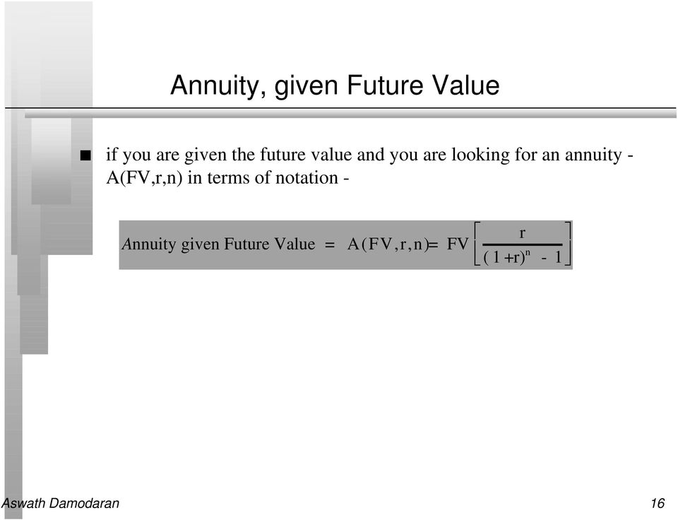 A(FV,r,n) in terms of notation - Annuity given