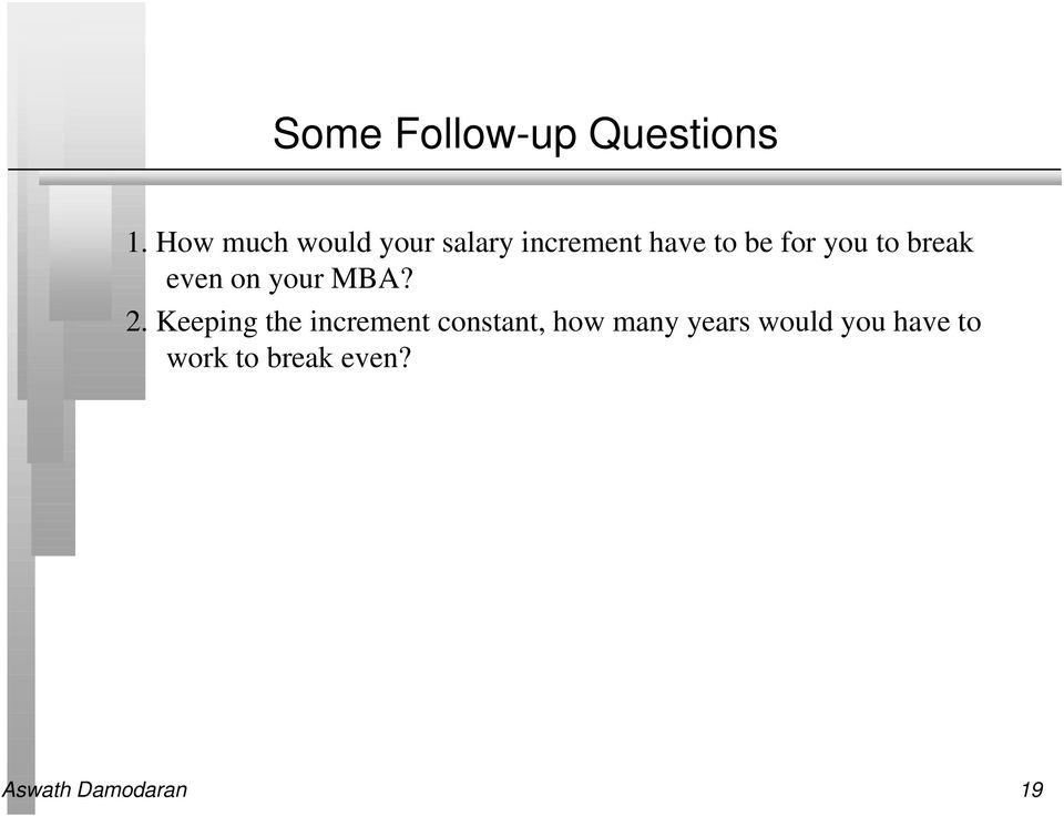 you to break even on your MBA? 2.