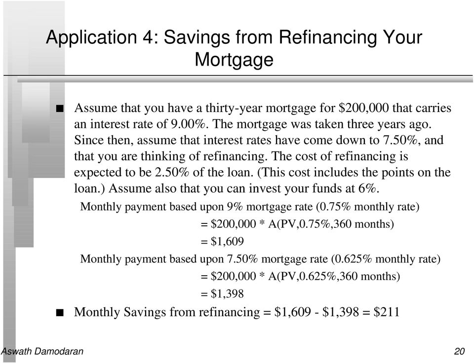 The cost of refinancing is expected to be 2.50% of the loan. (This cost includes the points on the loan.) Assume also that you can invest your funds at 6%.