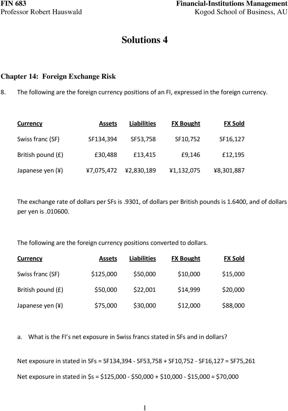 exchange rate of dollars per Ss is.9301, of dollars per British pounds is 1.6400, and of dollars per yen is.010600. The following are the foreign currency positions converted to dollars.