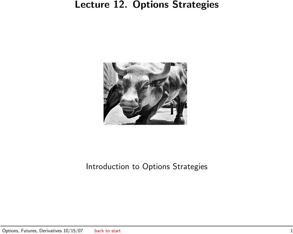 Introduction to  Options,