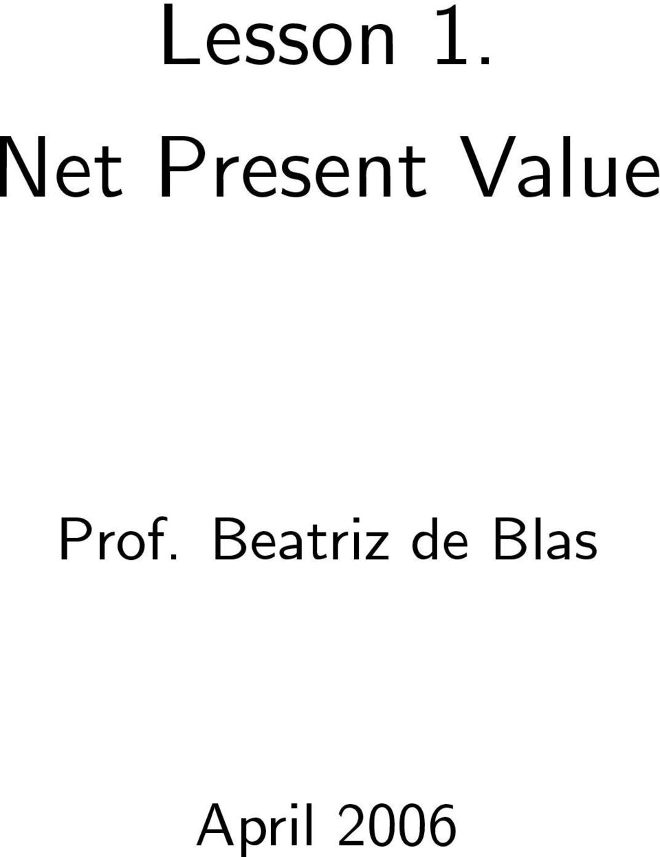 Value Prof.