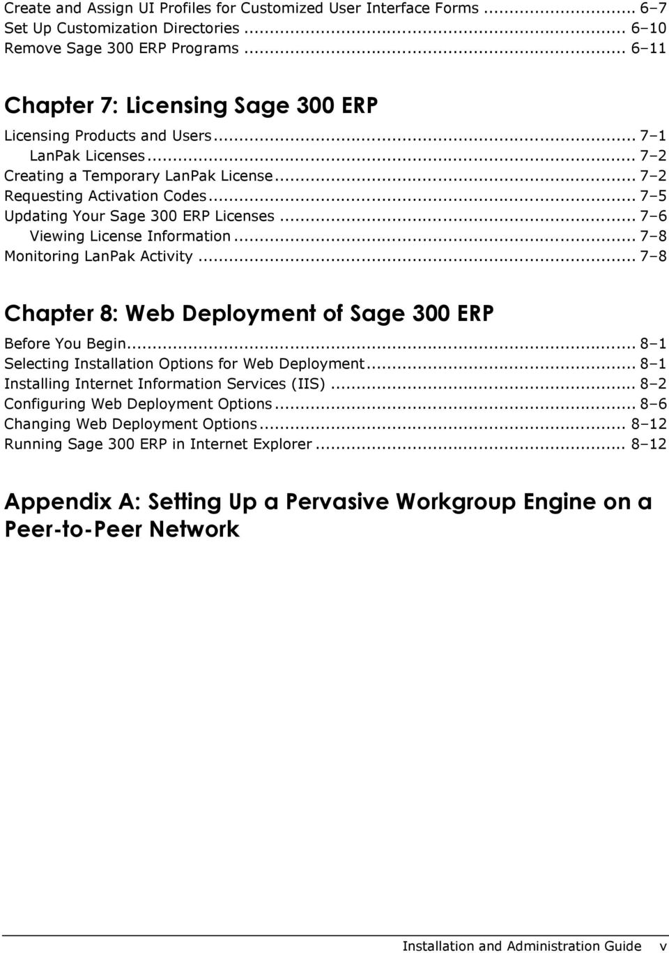 .. 7 5 Updating Your Sage 300 ERP Licenses... 7 6 Viewing License Information... 7 8 Monitoring LanPak Activity... 7 8 Chapter 8: Web Deployment of Sage 300 ERP Before You Begin.