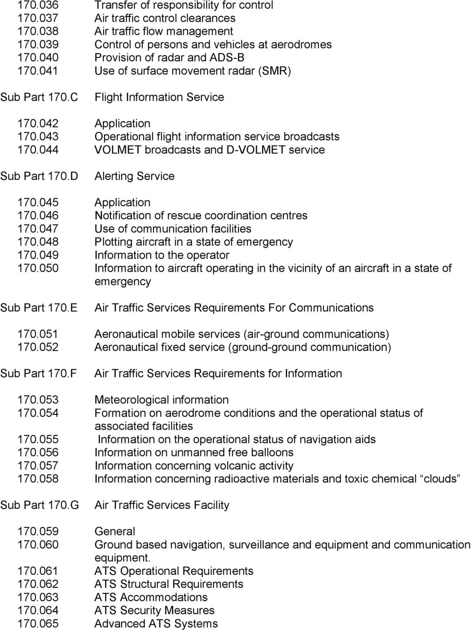 043 Operational flight information service broadcasts 170.044 VOLMET broadcasts and D-VOLMET service Sub Part 170.D Alerting Service 170.045 Application 170.