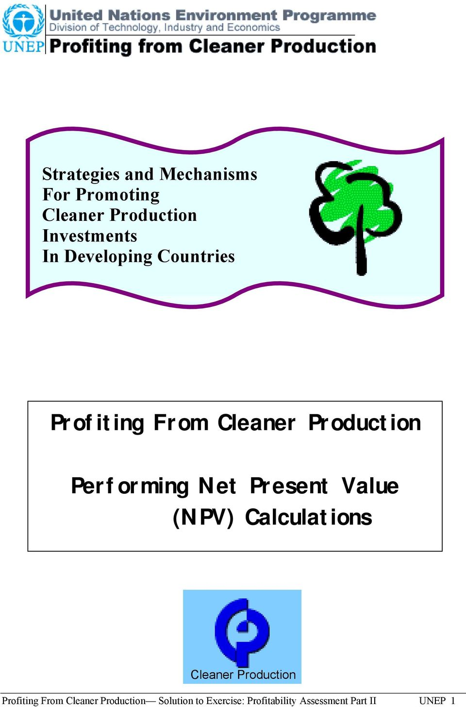 Present Value (NPV) Calculations Cleaner Production Profiting From
