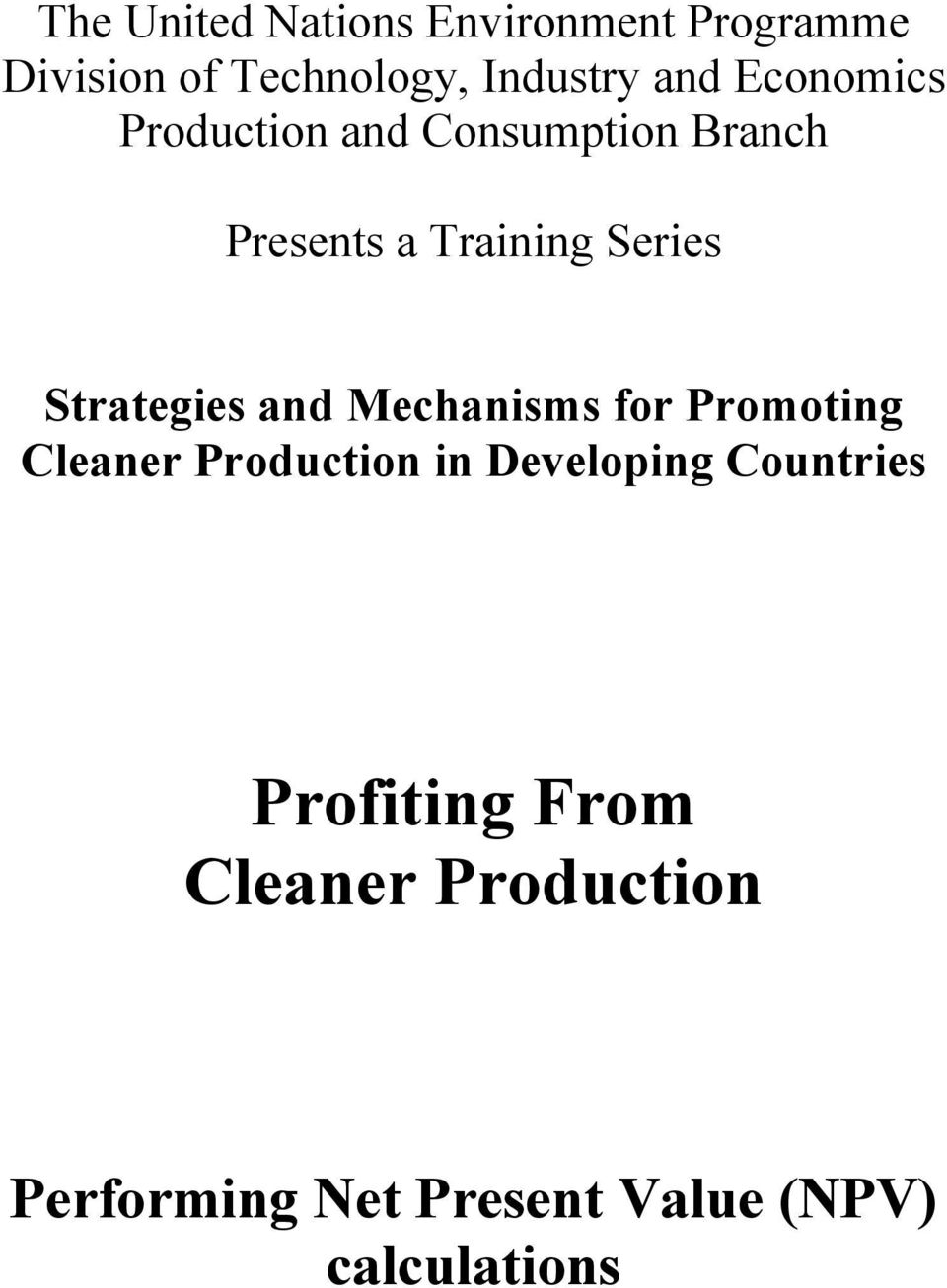 Strategies and Mechanisms for Promoting Cleaner Production in Developing