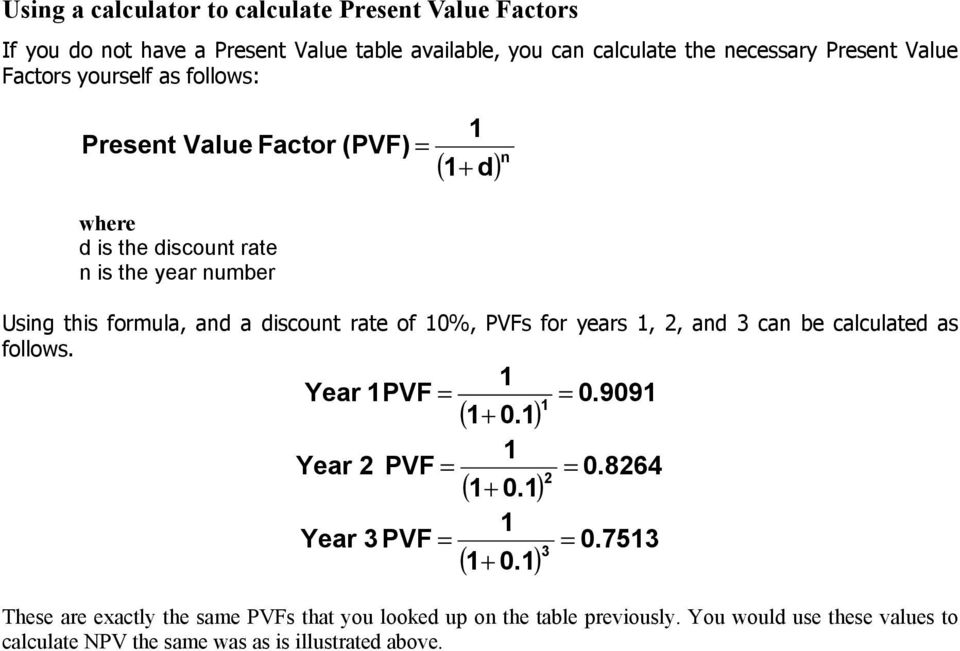 rate of 0%, PVFs for years, 2, and 3 can be calculated as follows. Year PVF = = 0.909 ( + 0.) Year 2 PVF = = 0.8264 2 ( + 0.) Year 3 PVF = = 0.753 3 ( + 0.