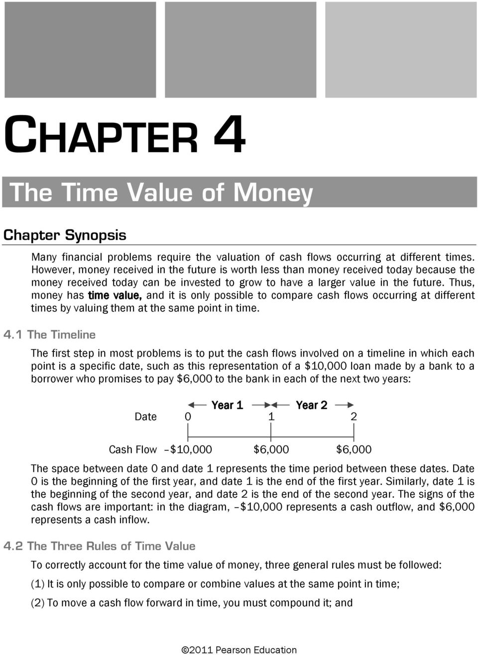 Thus, money has time value, and it is only possible to compare cash flows occurring at different times by valuing them at the same point in time. 4.