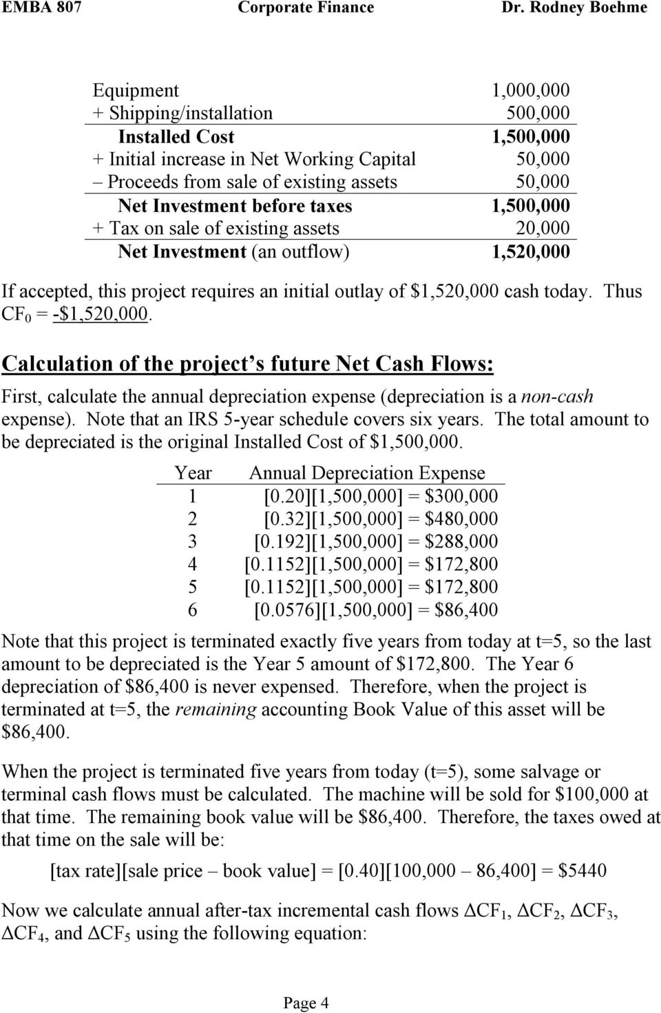 Calculation of the project s future Net Cash Flows: First, calculate the annual depreciation expense (depreciation is a non-cash expense). Note that an IRS 5-year schedule covers six years.