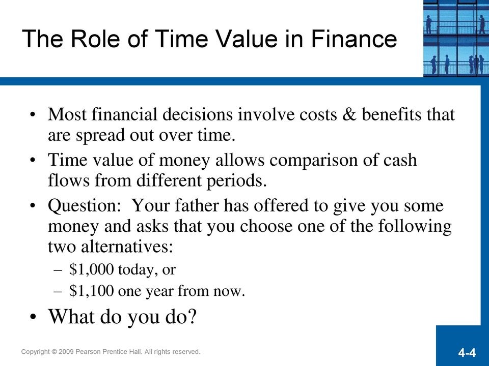 Time value of money allows comparison of cash flows from different periods.