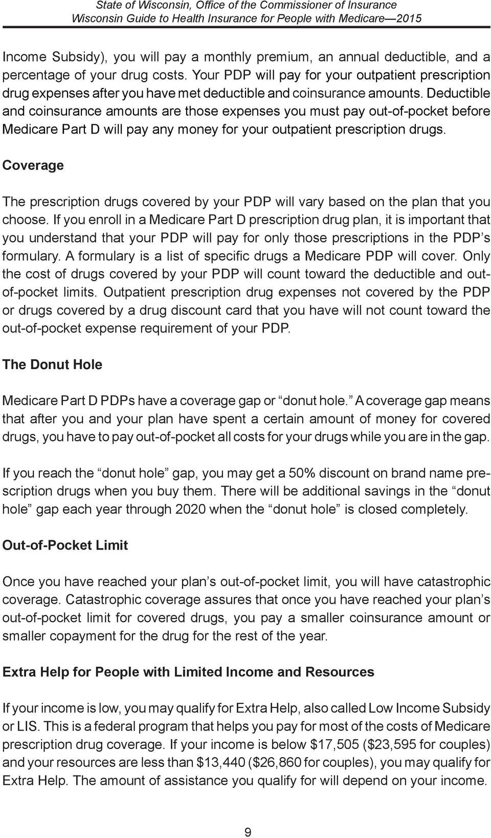 Deductible and coinsurance amounts are those expenses you must pay out-of-pocket before Medicare Part D will pay any money for your outpatient prescription drugs.