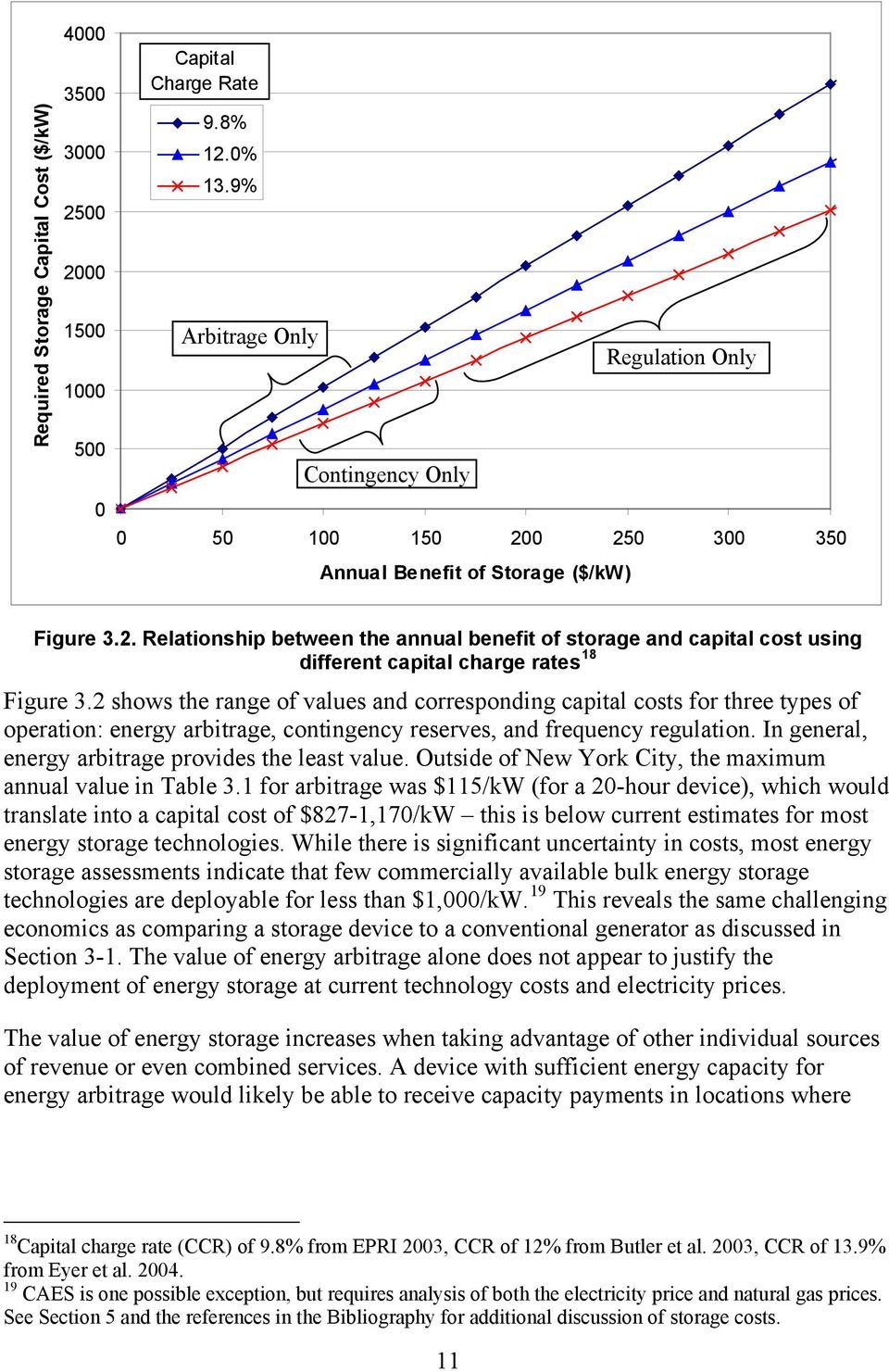 2 shows the range of values and corresponding capital costs for three types of operation: energy arbitrage, contingency reserves, and frequency regulation.