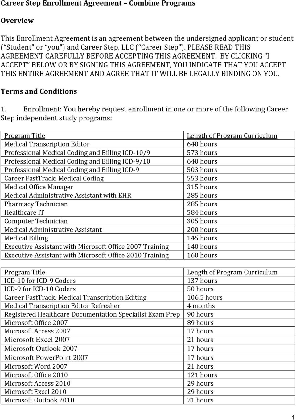 Career Step Enrollment Agreement Combine Programs Overview Pdf