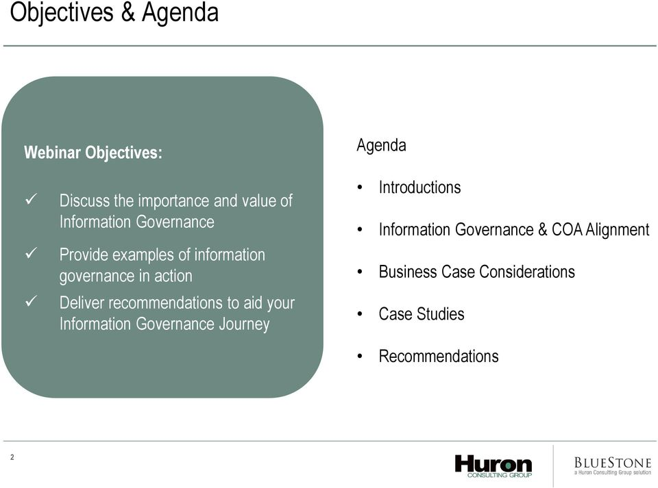 recommendations to aid your Information Governance Journey Introductions Information
