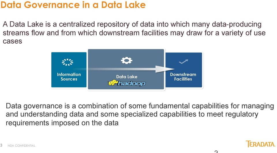Lake Downstream Facilities Data governance is a combination of some fundamental capabilities for managing and