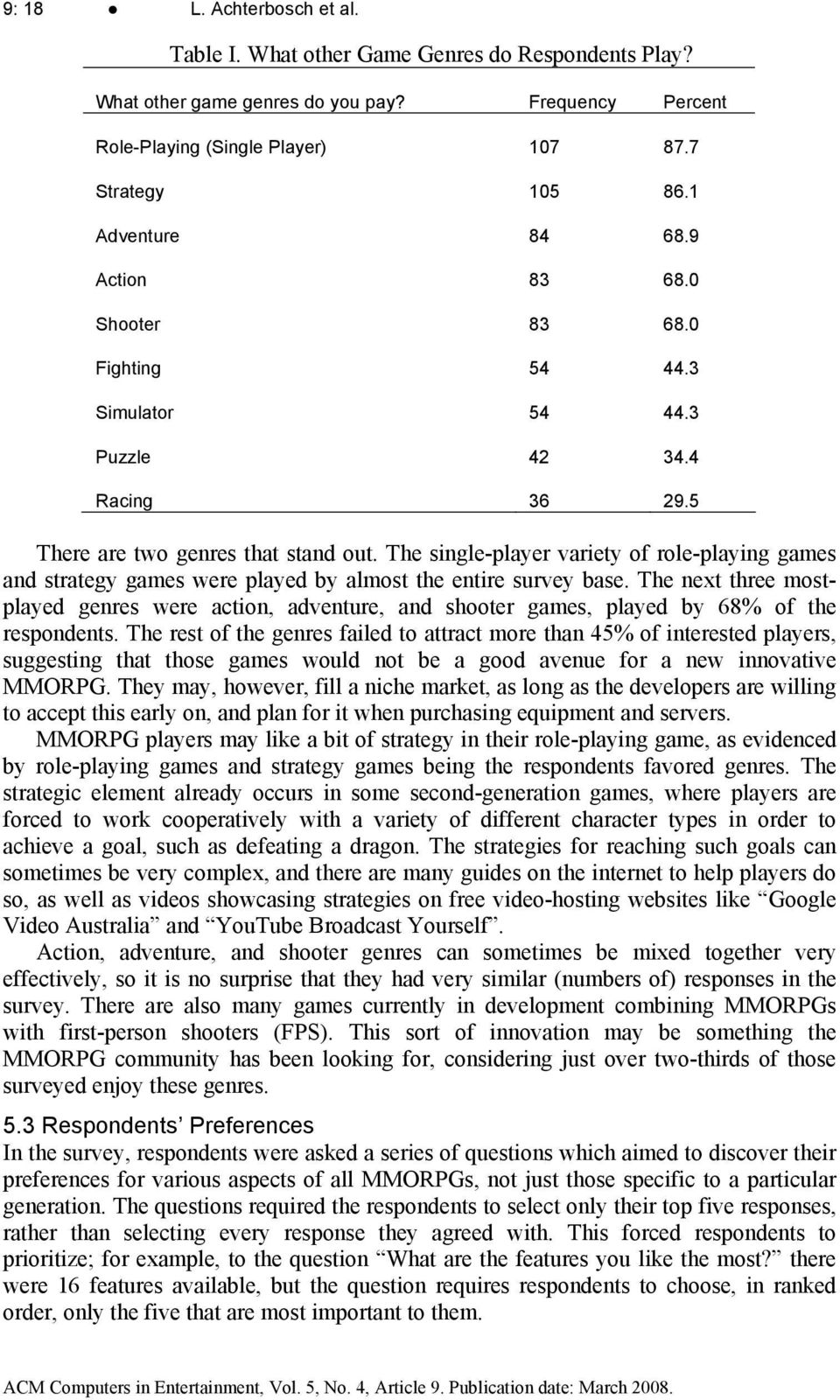 The single-player variety of role-playing games and strategy games were played by almost the entire survey base.