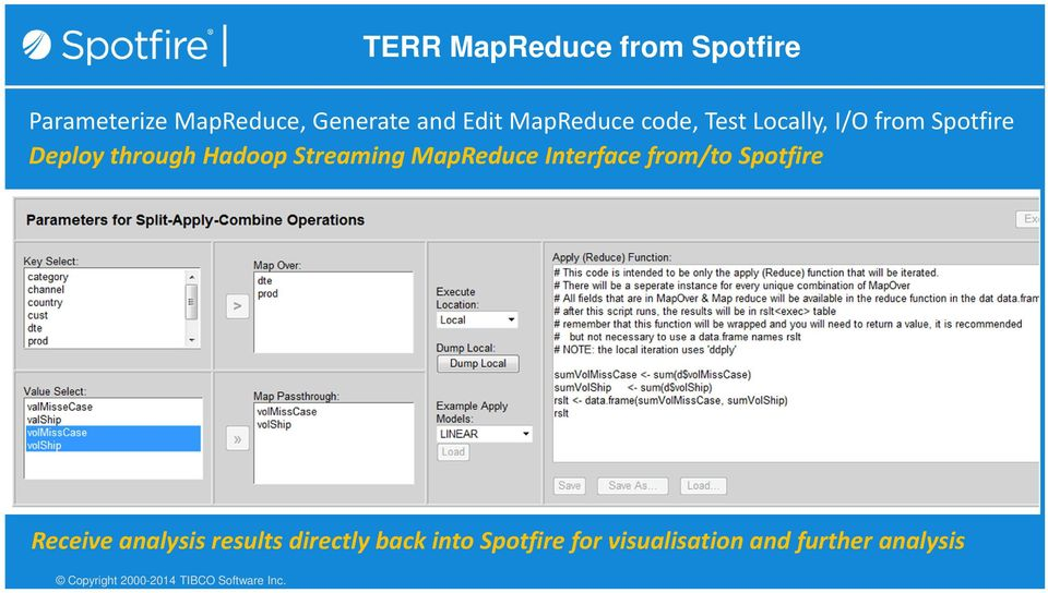 MapReduce Interface from/to Spotfire Receive analysis results directly back