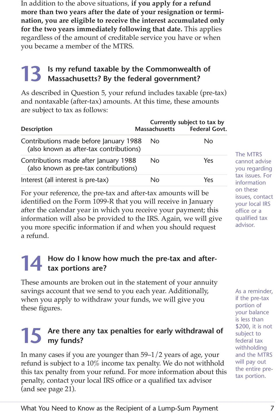 13 Is my refund taxable by the Commonwealth of Massachusetts? By the federal government? As described in Question 5, your refund includes taxable (pre-tax) and nontaxable (after-tax) amounts.