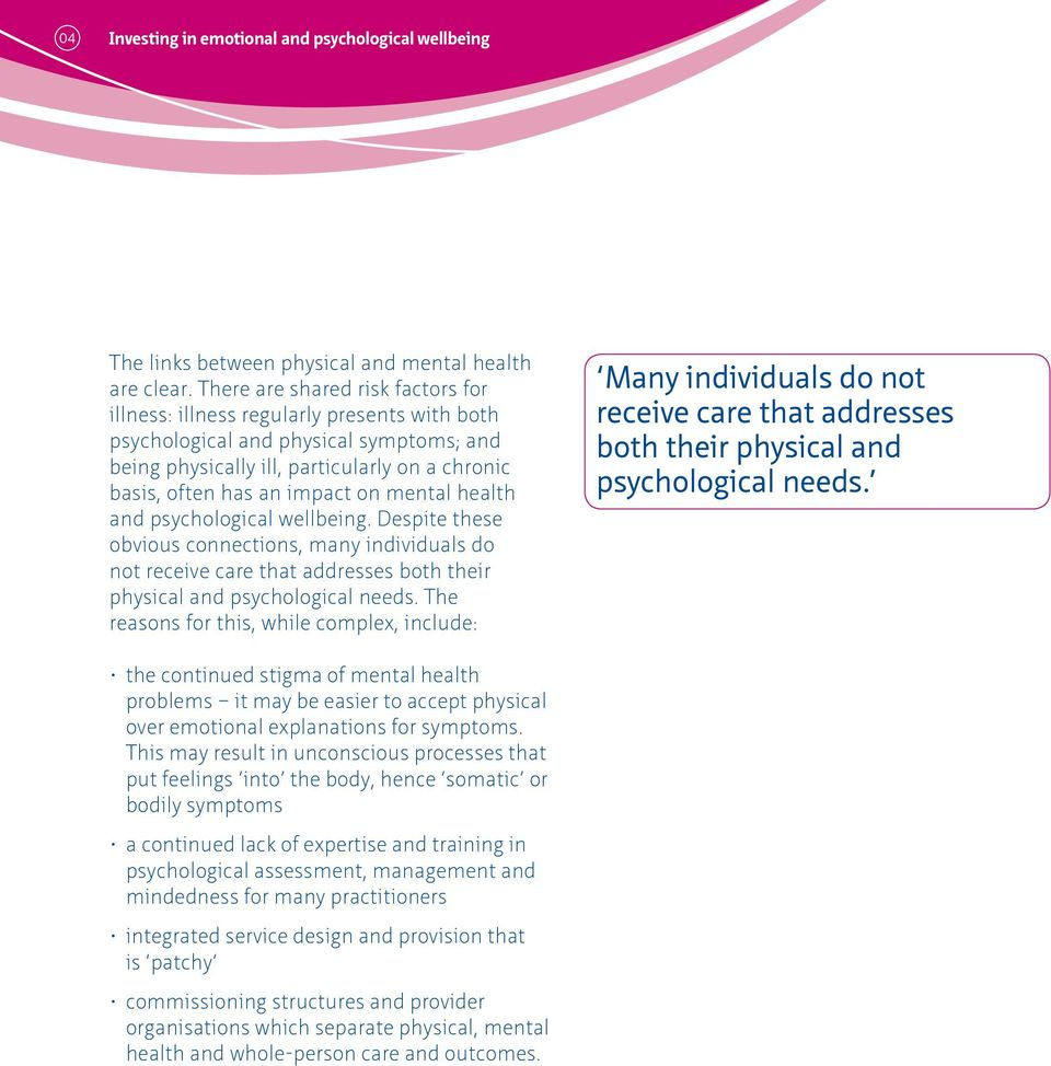 mental health and psychological wellbeing. Despite these obvious connections, many individuals do not receive care that addresses both their physical and psychological needs.
