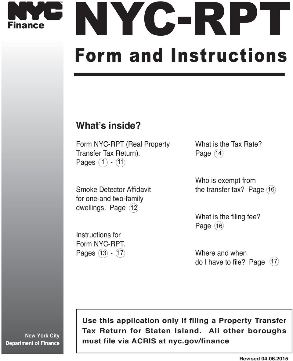 Page 14 Who is exempt from the transfer tax? Page What is the filing fee? Page 16 Where and when do I have to file?