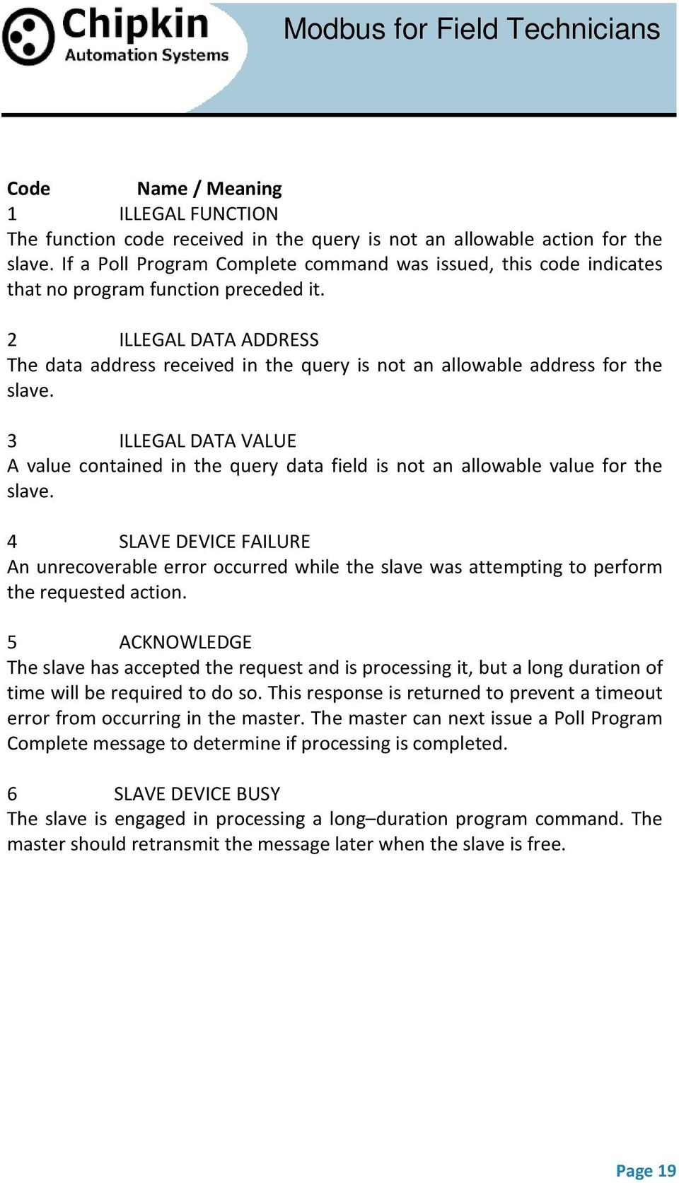2 ILLEGAL DATA ADDRESS The data address received in the query is not an allowable address for the slave.