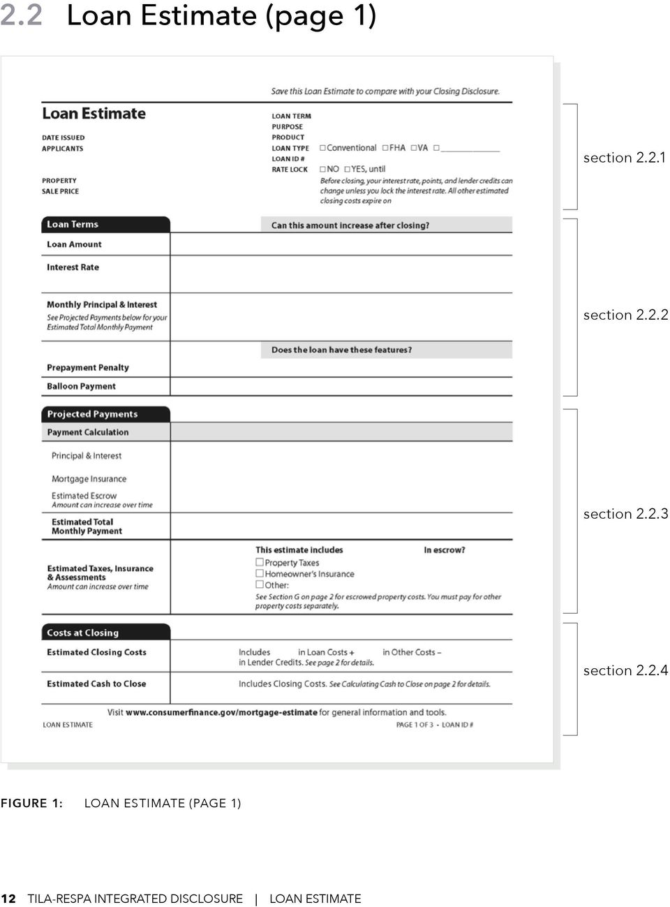 Loan Estimate (page 1) 12 TILA-RESPA