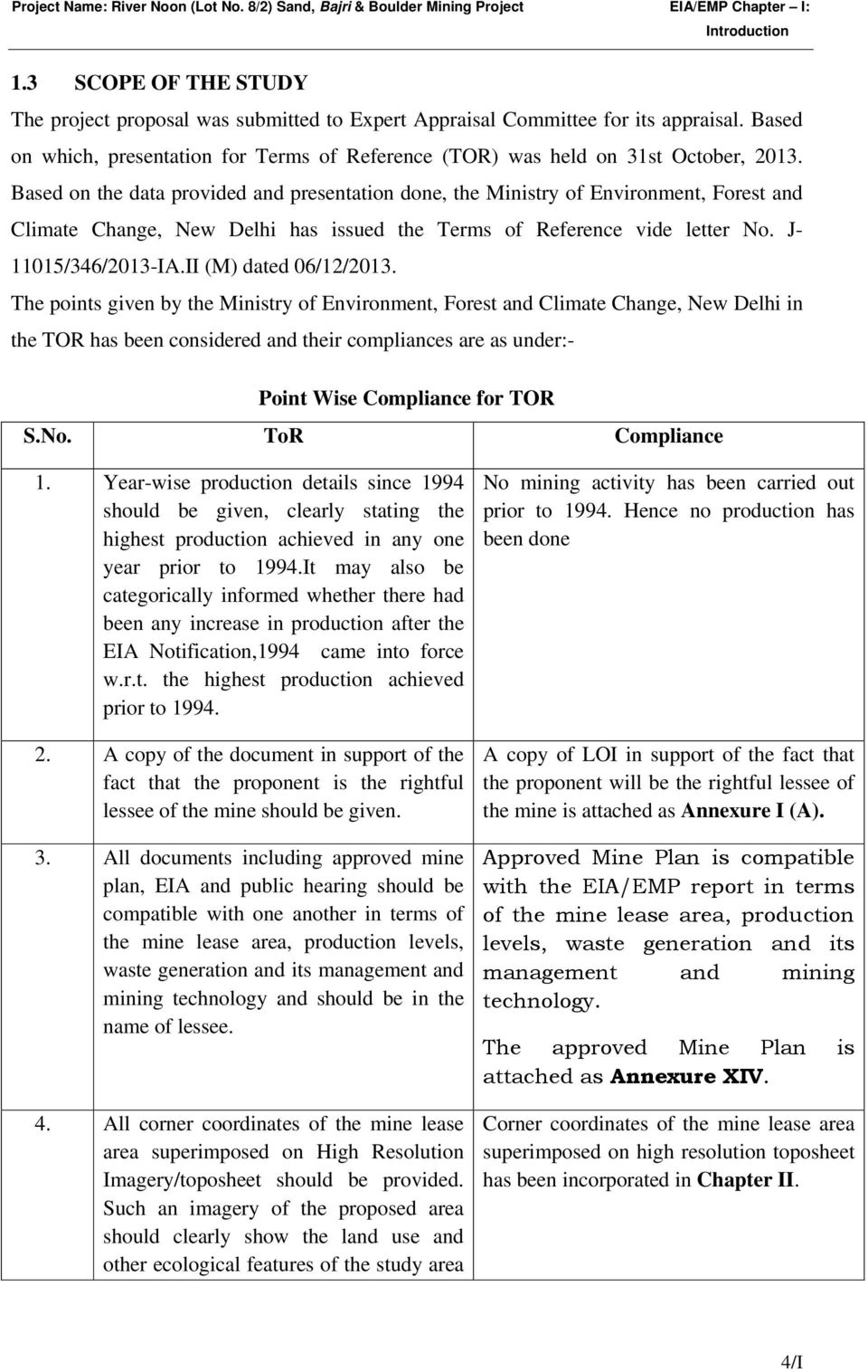 Based on the data provided and presentation done, the Ministry of Environment, Forest and Climate Change, New Delhi has issued the Terms of Reference vide letter No. J- 11015/346/2013-IA.