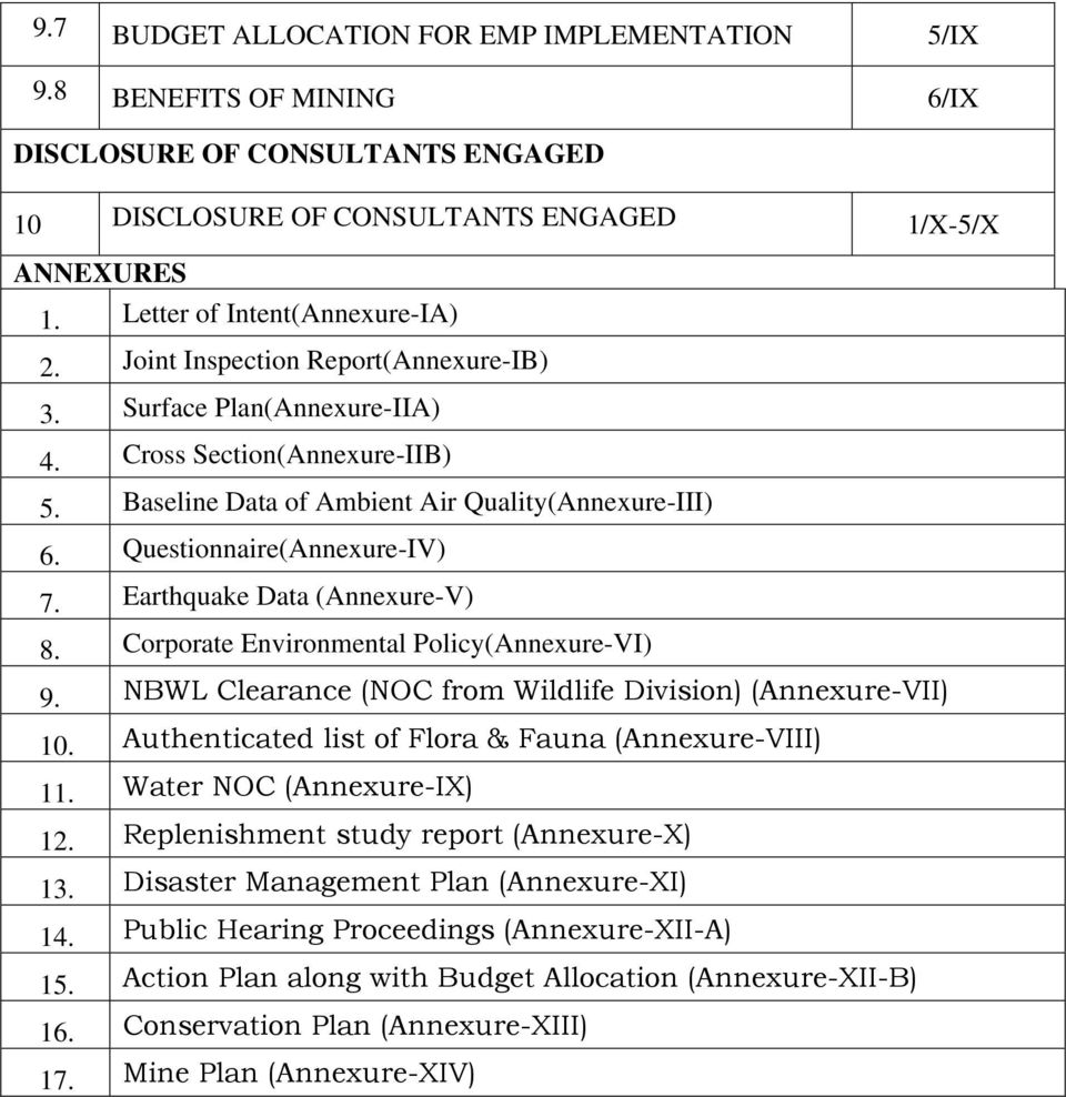 Questionnaire(Annexure-IV) 7. Earthquake Data (Annexure-V) 8. Corporate Environmental Policy(Annexure-VI) 9. NBWL Clearance (NOC from Wildlife Division) (Annexure-VII) 10.