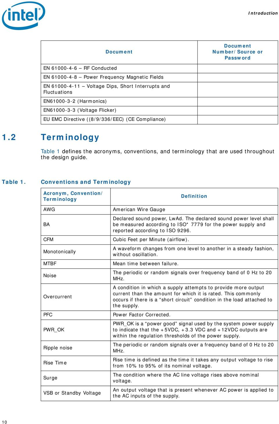 2 Terminology Table 1