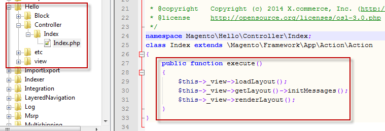 2 Create controller and action - Create the file Index.php in app/code/magento/hello/controller/index/index.