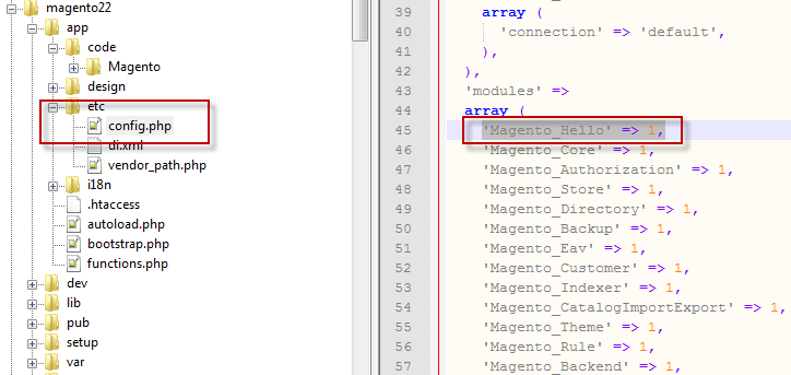 4 Activate Magento_Hello extension in configuration file - Open the file